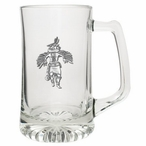 Eagle Kachina Glass Super Beer Mug with Pewter Accent