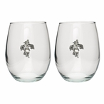 Eagle Kachina Pewter Accent Stemless Wine Glass Goblets, Set of 2