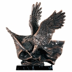 Eagle on Flag Statue - Antique Copper Finish