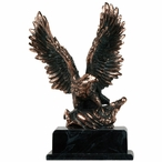 Eagle with Flag, High Base Large Statue - Copper Finish