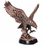 Large Landing Eagle with High Base Statue - Copper Finish