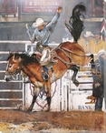 Early With Drawl Cowboy at the Rodeo Wrapped Canvas Giclee Print