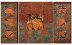Earth & Fire Sage Gallery Wrapped Canvas Art Print Wall Art, Set of 3