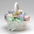 Egg Basket with Bow Musical Music Box Sculpture