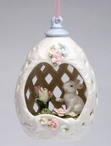 Egg Shape Christmas Tree Ornaments with Bunny Rabbits, Set of 4