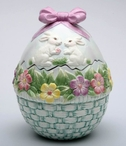 Egg Shaped Cookie Jar with Bunny Rabbits
