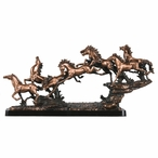 Eight Running Horse Group Statue - Copper Finish
