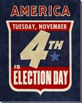 Election Day Wrapped Canvas Giclee Print Wall Art