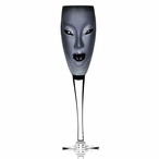 Electra Black and Clear Crystal Champagne Glass by Mats Jonasson