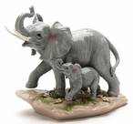 Elephant and Baby Porcelain Sculpture