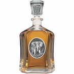 Elephant Capitol Glass Decanter with Pewter Accents