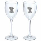 Elephant Pewter Accent Wine Glass Goblets, Set of 2
