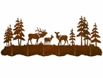 Elk Family and Pine Trees Scenic Six Hook Metal Wall Coat Rack