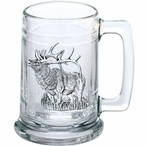 Elk Glass Beer Mug with Pewter Accent