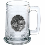 Elk Oval Glass Beer Mug with Pewter Accent