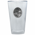 Elk Oval Pint Beer Glasses with Pewter Accent, Set of 2