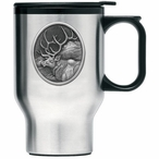 Elk Oval Stainless Steel Travel Mug with Handle and Pewter Accent