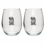 Elk Pewter Accent Stemless Wine Glass Goblets, Set of 2