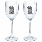 Elk Pewter Accent Wine Glass Goblets, Set of 2