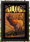 Elk Stained Glass Welcome Wall Art