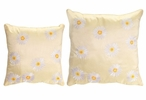 Embroidered White Daisy Square Polyester Throw Pillows, Set of 2