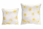 Embroidered Yellow Daisy Square Polyester Throw Pillows, Set of 2