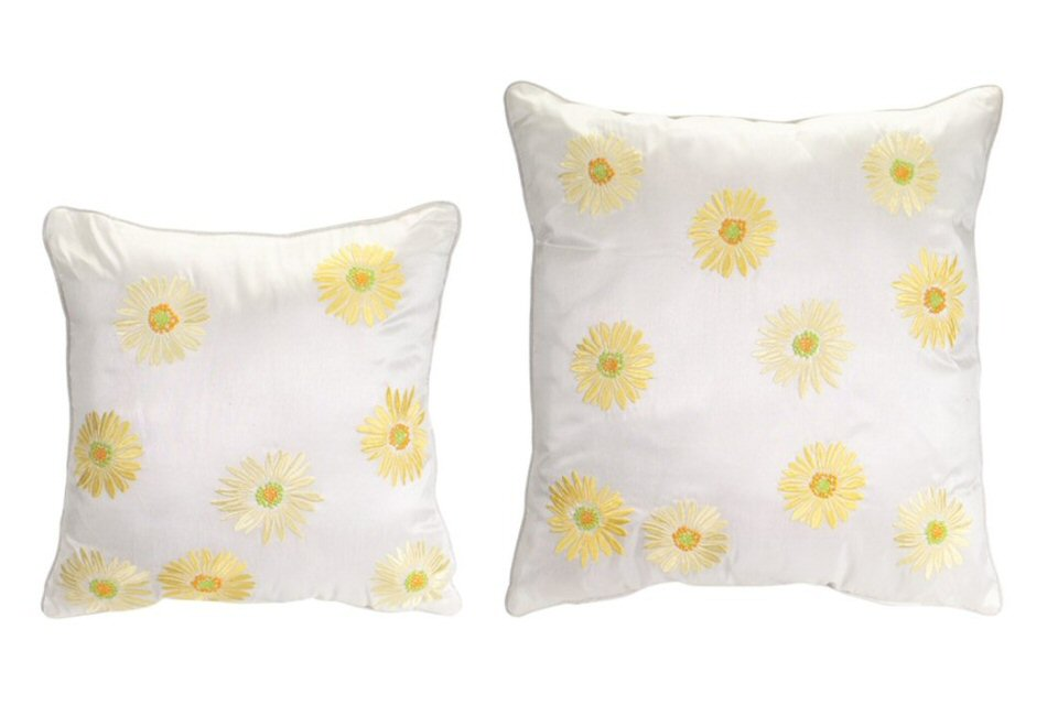 Yellow Embroidered Throw Pillows : Embroidered Yellow Daisy Square Polyester Throw Pillows, Set of 2 - Decorative Accent Pillow ...