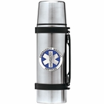 Emergency Medical Services Blue Stainless Steel Thermos with Pewter