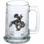 End of the Trail Glass Beer Mug with Pewter Accent