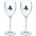 End of the Trail Pewter Accent Wine Glass Goblets, Set of 2