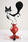 Escape Plan Cat on Stool Afraid of Mice Cat Statue by Albert Dubout