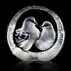 Etched Crystal Turtle Dove Paperweight by Mats Jonasson