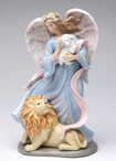 Eternal Peace Angel with Lion and Lamb Musical Music Box Sculpture