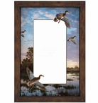 Evening Flight Mallard Ducks Framed Wall Mirror