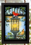 Evening Glow Cardinal Birds Stained Glass Welcome Wall Art