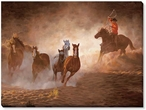 Evening Roundup Cowboy Wrapped Canvas Giclee Print Wall Art