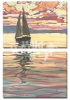 Evening Sail Sailboat Wrapped Canvas Giclee Wall Art Print, Set of 2