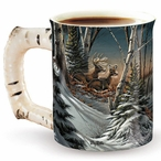 Evening with Friends Deer Sculpted Stoneware Coffee Mugs, Set of 6