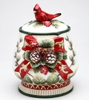 Evergreen Holiday Porcelain Jar with Cardinal Bird and Pine Cones