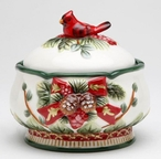 Evergreen Holiday Porcelain Jars with Cardinals & Pine Cones, Set of 2
