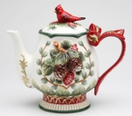 Evergreen Holiday Porcelain Teapot with Cardinal and Pinecones