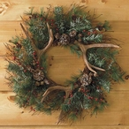 Evergreen Wreaths with Antlers, Set of 2