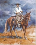 Eyeing the Storm Cowboy on Horseback Wrapped Canvas Giclee Print