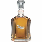 F-18 Hornet Plane Capitol Glass Decanter with Pewter Accents