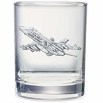 F-18 Hornet Plane Pewter Accent Double Old Fashion Glasses, Set of 2