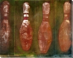 Facet Red Bowling Pins Wrapped Canvas Giclee Print Wall Art