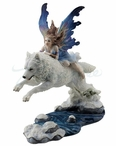 Fairy Riding on a Leaping Arctic Wolf Sculpture
