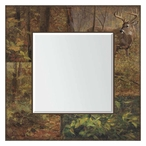 Fall Whitetail Deer Square Wall Mirror with Wood Frame