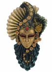 Fan and Feather Venetian Carnival Mask Wall Plaque