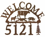 Farm Animals Metal Address Welcome Sign